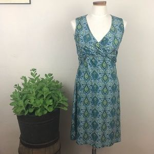 Prana Green Teal Paisley Twist Wrap Dress Size Med
